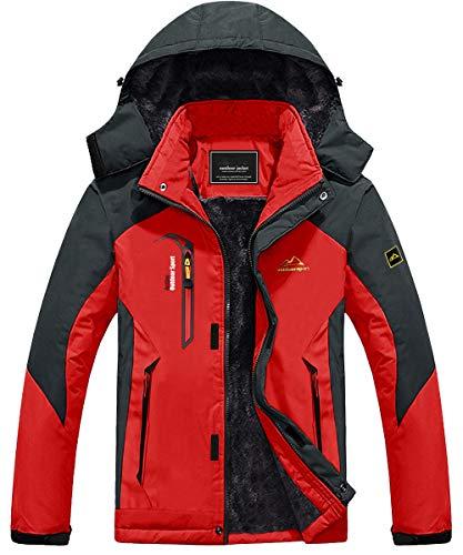 KEFITEVD Giacca da snowboard da uomo con calda imbottitura, giacca da sci in softshell impermeabile con cappuccio, giacca invernale in pile traspirante, Colore: rosso, XXXL