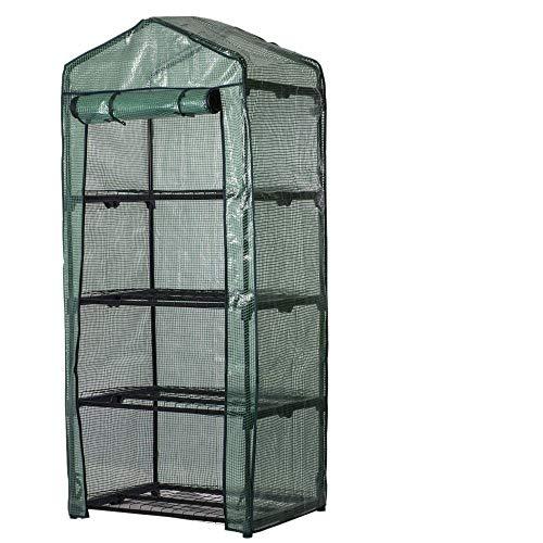 Invernadero de jardín para plantas de invierno, con 4 estantes, rectangular, con cremallera, cubierta para invernadero, de PVC, impermeable, 160 x 70 x 50 cm