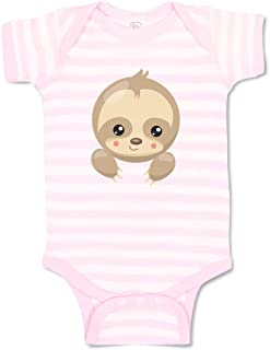 Custom Personalized Boy & Girl Baby Bodysuit Sloth Face Open Eyes Cotton Baby Clothes