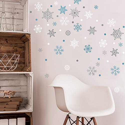 Snowflakes Wall Decal - Silver and Blue Frozen Theme Christmas Snowflake Wall Stickers