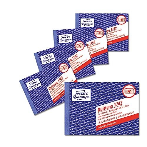 AVERY Zweckform 1742-5 Quittungsblock Kleinunternehmer (A6 quer, 2x40 Blatt mit Durchschlag, fälschungssicher, ohne MwSt. für Deutschland/Österreich, nach Kleinunternehmerregelung) weiß/gelb, 5er-Pack