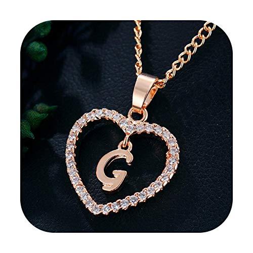 BSbattle Collar con colgante de corazón con 26 letras y circonitas, ideal como regalo de la primera letra.
