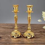 Sziqiqi Juego de 2 Candelabros de Metal Portavelas Oro para Comedor Mesa de Centro de Mesa...