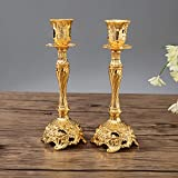 Sziqiqi Juego de 2 Candelabros de Metal Portavelas Oro para Comedor Mesa de Centro de Mesa Boda Decoración, Candelabros Adornados para Velas Shabat Taper, Oro