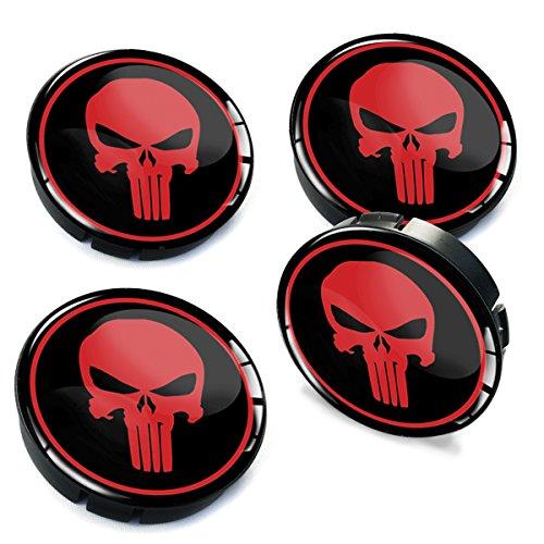 SkinoEu 4 x 60mm Universal Tapas de Rueda de Centro Craneo Skull Punisher Tapacubos para Llantas Coche C 3
