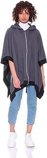 بونشو بغطاء للراس وسوستة باكمام قصيرة واطراف مختلفة اللون للنساء من جميلة