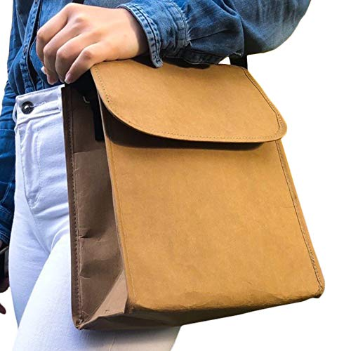 Lunch Bag for Women Men with Shoulder Strap - Insulated Reusable Brown Paper Freezable Cute Adult Lunch Box - Mens Womens Lunchbox - Thermal Lunch Tote Bag For Work - Lunch Pail Cooler Carrier