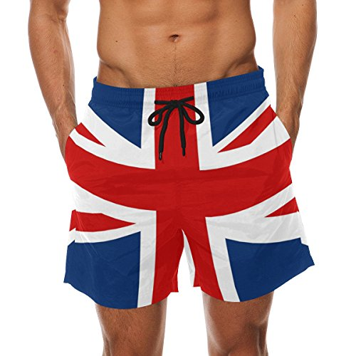 LORVIES Men's UK British Flag Beach Board Shorts Quick Dry Swim Trunk