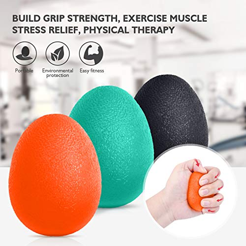 Peradix Hand Grip Strength Trainer, Stress Relief Ball for Adults and Kids, Wrist Rehab Therapy Hand Grip Equipment Ball Squishy - Set of 3 Finger Resistance Exercise Squeezer