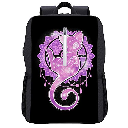 Monster Of The Pocket Starry Sky of Creaton Mew Rucksack Daypack Bookbag Laptop Schultasche mit USB-Ladeanschluss