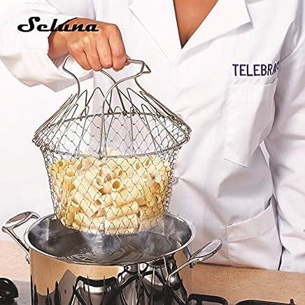 BIRD WORKS Zusammenklappbarer Frite-Korb-Edelstahl-Sieb-magische Masche 12 in 1 Chef-Korb-Sieb Fry-Dampf spülen Belastung Küchen-Werkzeug: 304 Edelstahl preisvergleich bei geschirr-verleih.eu