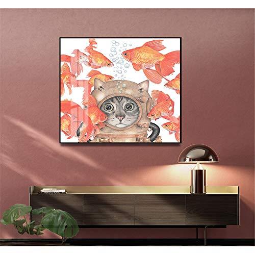 DIY Pintar por números Nordic moderne chat poisson rouge peinture décorative Art photo nautique pintura por números para niños Con pincel y pintura acrílica Kits Theme Digital50x50cm(Sin marco)