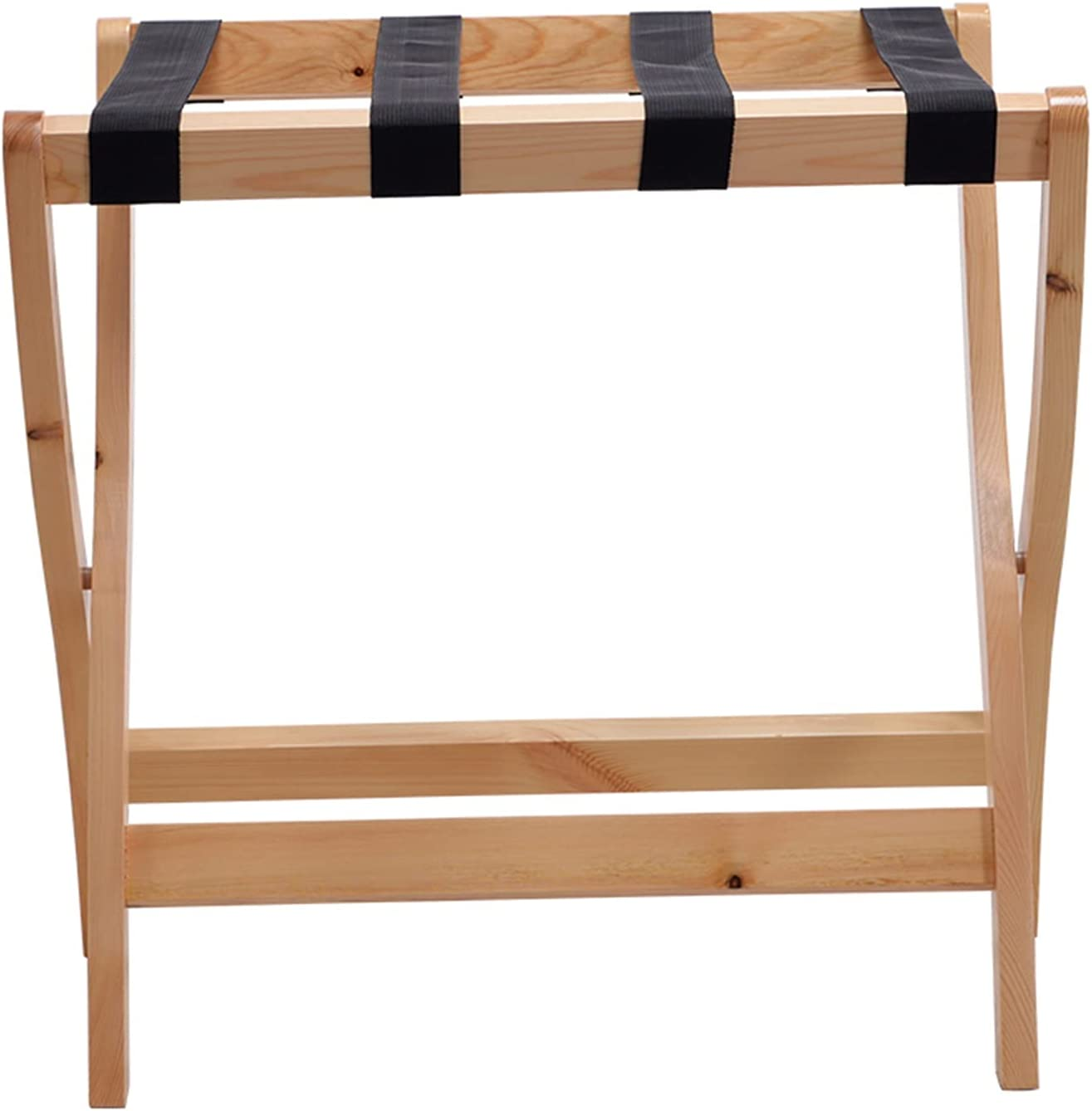 ZXFF Foldable Super sale period limited Wooden Luggage Rack with Webbing Nylon Los Angeles Mall Straps 4 S