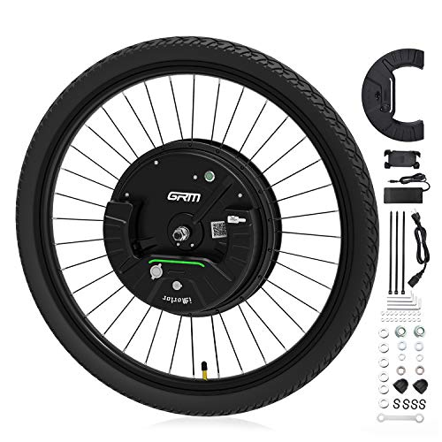 """GRM iMortor 3.0 Wireless Electric Bike Wheel,APP Based,26""""x1.95"""" Disc-Brake Bicycle Front Wheel Conversion Kits,36V/350W Powerful Motor Kit for Android & iOS, All Bluetooth Versions,MTB/CTB/Cruiser"""