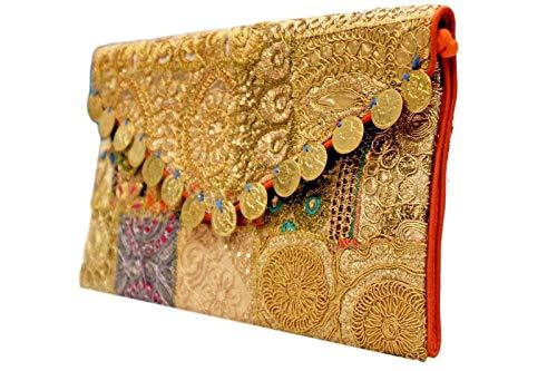 BG_100 - Bolsa de mano de tela multicolor, diseño étnico indio bordado