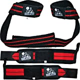 Wrist Wraps + Lifting Straps Bundle (2 Pairs) for Weightlifting, Cross Training, Workout, Gym, Powerlifting, Bodybuilding-Support for Women & Men,Avoid Injury during Weight Lifting-Red,1 Year Warranty