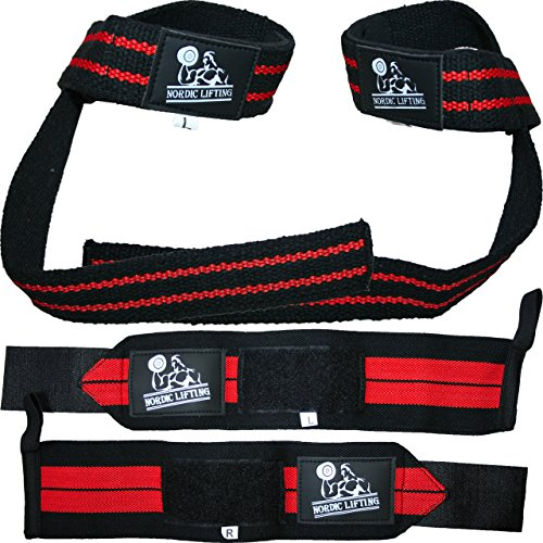 Wrist Wraps + Lifting Straps Bundle (2 Pairs) for Weightlifting, Cross Training, Workout, Gym, Powerlifting, Bodybuilding-Support for Women & Men,Avoid Injury During Weight Lifting-Red