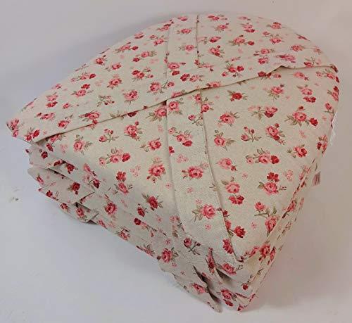 Set 4 x Stuhlkissen/Sitzkissen Marina halbrund mit Schleife 42 x 45 cm Dicke 5 cm, Fb. Mirha Leinen Rose - Made in EU