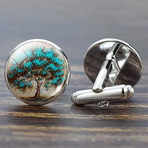 SMXGF Tree of Life Manchetknopen for mannen Best Man Manchetknopen Set Manchetknopen Leven van de boom Kostuum van het huwelijk shirt Zilver Manchetknopen Heren Accessoires (Color : Silver Plated)