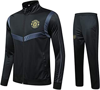 Manchester United F.C Kids Football Training Suit Jersey Autumn Winter Long Sleeve Jacket Sweatshirt 2-Piece Zipper Plus Velvet M-3XL