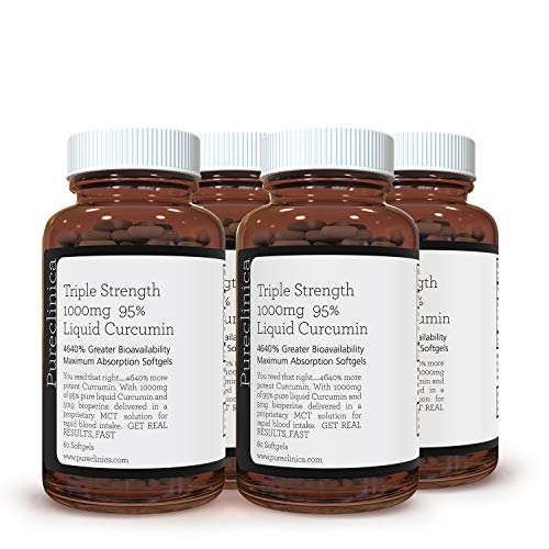 Triple Strength 1000mg 95% Liquid Curcumin x 240 Softgels (4 Bottles of 60) - 8 Months Supply!SKU: CURSOFx4