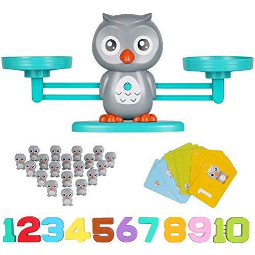 Tixiyu Juguete de matemáticas de balanza de animales, juego de mesa de números educativos tempranos de equilibrio de matemáticas, juguetes de conteo preescolar Montessori, regalo para niños y