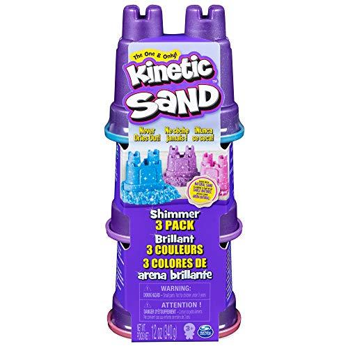 Kinetic Sand- Schimmer Sand 3er Pack Arena Brillante (3 Unidades, 340 g), Color carbón (Spin Master 6053520)