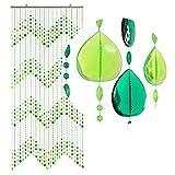 HAB & GUT -DV0253- Cortina para Puertas Gotas, Verde, 90 x 200 cm