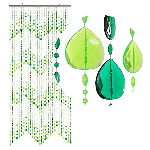 HAB & GUT -DV0253- Türvorhang KLUNKER, GRÜN, 90 x 200 cm Perlenvorhang Pailettenvorhang