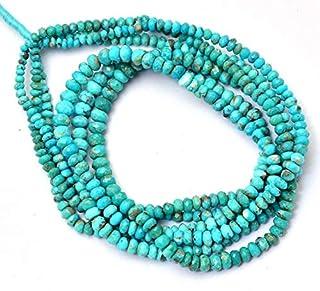 Cuentas Rondelle facetadas AAA Turquesa de 3 mm a 5 mm | Hebra de 16 pulgadas | Cuentas de piedras preciosas semipreciosas...