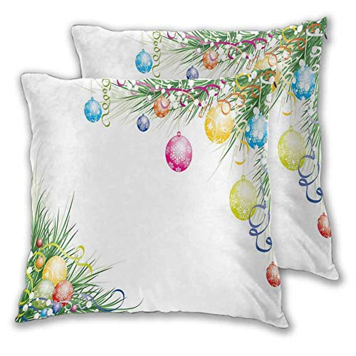 New Year Pillow Cover Cushion Cover, 12 x 12 Inch Colorful Baubles on Fir Branches Seasonal Ornaments Christmas Themed Illustration for Home Decor Sofa Bedroom Car Christmas decoration Set of 2