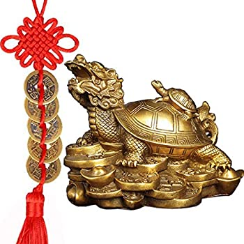 Amperer Feng Shui Brass Dragon Turtle Statue Wealth Prosperity Sculpture with Set of 5 Lucky Charm Ancient Coins on Red String Best Housewarming Congratulatory Gift Home Decor  C2 Dragon Turtle