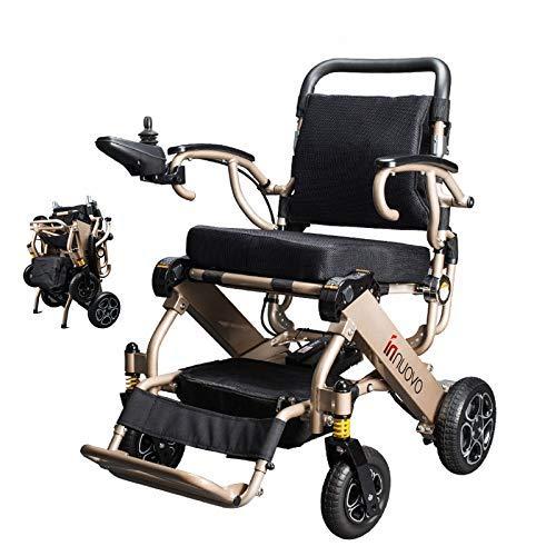 XWC Faltbarer elektrischer Elektrorollstuhl, Flugreisen erlaubt, Deluxe-Allrad-Automatik-Intelligent-Powerful-Motor-Carry-Rollstühle Komfortabel/Gold