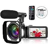 Caméscope pour Youtube Full HD 2.7K 30FPS 30 MP IR Vision Nocturne Caméscope à écran Tactile de 3 Pouces avec Microphone Pare-Soleil à télécommande