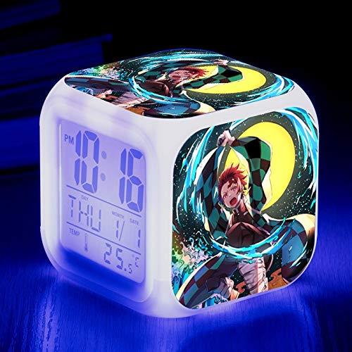 shiyueNB niños Reloj Despertador de Dibujos Animados luz led 7 Colores cambiantes Pantalla de Cristal líquido Reloj Metro Cuadrado Cuadrado Digital Retro 20