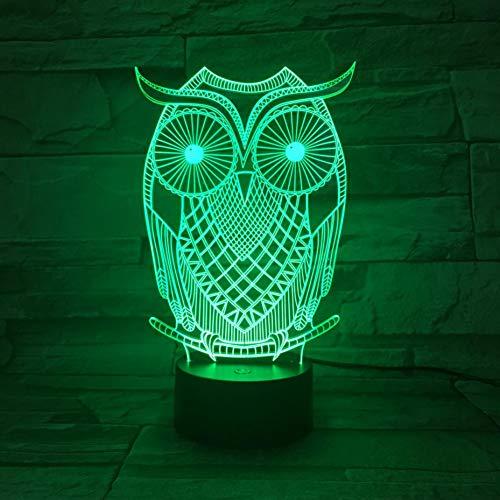 LPHMMD Nacht Licht Uil e Lamp Slaapkamer 3D Illusie Decoratieve Lamp Vogel Lamp Kind Kids Gift Baby Nachtlampje Nighthawk Nachtlampje Led Minerva