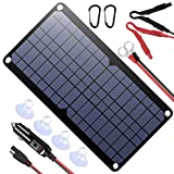 POWISER 10W 12V Solar Panel Car Battery Charger Portable Waterproof Power Trickle Battery Charger &...