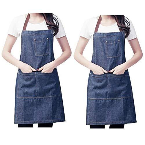 JZK 2 x Denim Jean verstelbare keukenschort met grote zakken voor vrouwen mannen voor het koken BBQ Grill Cafe ober barman chef-kok schort