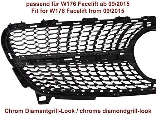 Diamantgrill Folien Sticker für Mercedes A-Klasse W176 Facelift AMG Grillaufkleber (Chrom)