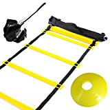 Huvai 6m 12 Rungs Agility Ladder Training With A Resistance Parachute, 12 Yellow