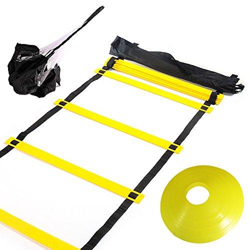 Huvai - Escalera de entrenamiento de agilidad con paracaídas de resistencia de 6 m, 12 peldaños con conos de disco amarillos, una bolsa de transporte