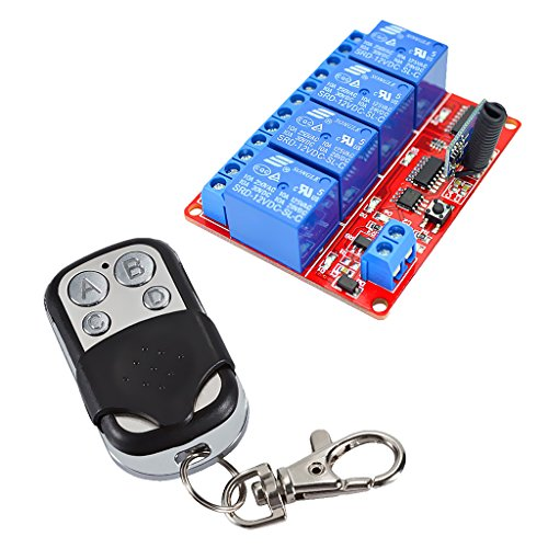 IPOTCH 12V 4 CH Relé Control Remoto de 4 Teclas + Interruptor de Llave Transmisor Receptor