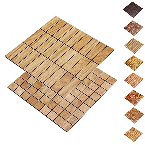 wodewa Holz WandverkleIdung Holzmosaik Fliese 28x28cm Eiche Echtholz Wandpaneele Moderne Wanddekoration Holz Holzverkleidung Fußboden Decke 30x30mm