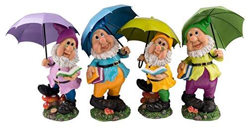 Großer Gartenzwerg mit dunkelgrünem Schirm und Mütze 38,5 cm bunte Zwerg Figur für Haus und Garten Gnom Schirm Grün Dunkelgrün - 2