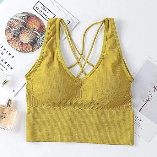 Meijin Chaleco deportivo hermoso sujetador deportivo para mujer, sexy, transpirable, deportivo, fitness, correr, gimnasio, ropa deportiva, chaleco deportivo (color: amarillo, tamaño: F traje 40 65 kg)