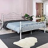 Aingoo Lit métal Double avec Bois sommier à Lattes Cadre de lit renforcé avec sommier de tête de lit Haute, sommier à Ressorts,140x190 cm Blanc