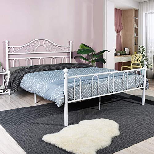 Aingoo Lit métal Double avec Bois sommier à Lattes Cadre de lit renforcé avec sommier de tête de...