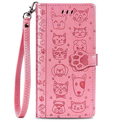 Capa carteira XYX para Xiaomi Mi CC9/ Mi A3 Lite/Mi 9 Lite, Capa carteira de couro PU com estampa de gato e cachorro em relevo para cartões de crédito, slot à prova de choque, flip magnético com alça de pulso, rosa