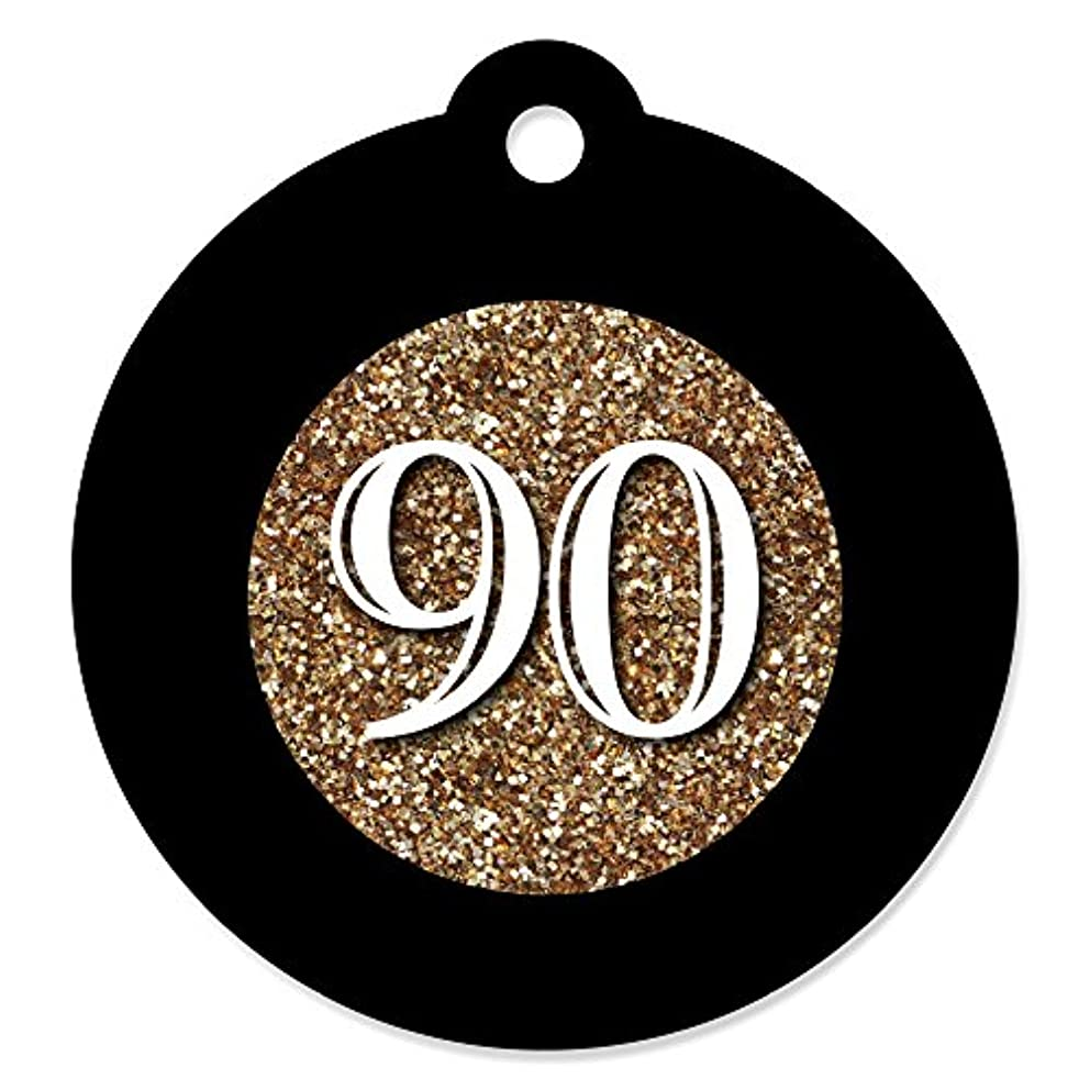 Adult 90th Birthday - Gold - Birthday Party Favor Gift Tags (Set of 20)