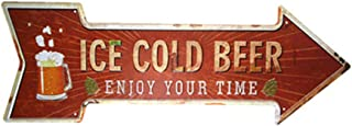 Yunuo Metal Tin Signs Arrow Shabby Chic Vintage Poster for Home Office Pub Wall Decoration (ICE Cold Beer)